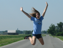 Kelsey Jumps for Joy