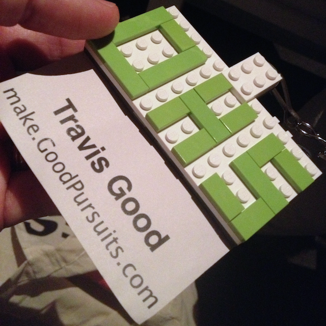 The goodie bag had a lego-based name tag.