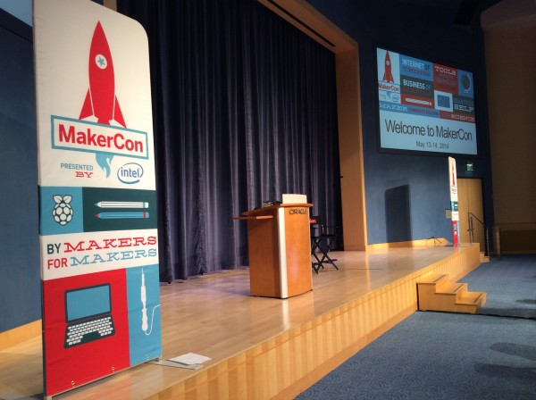 Courtesy of Qualcomm, MakerCon had fabulous facilities, this being our main stage.